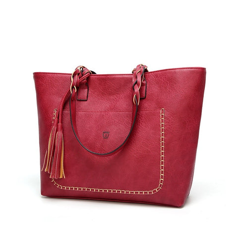 Image of Vintage PU Tassel Shoulder Bag