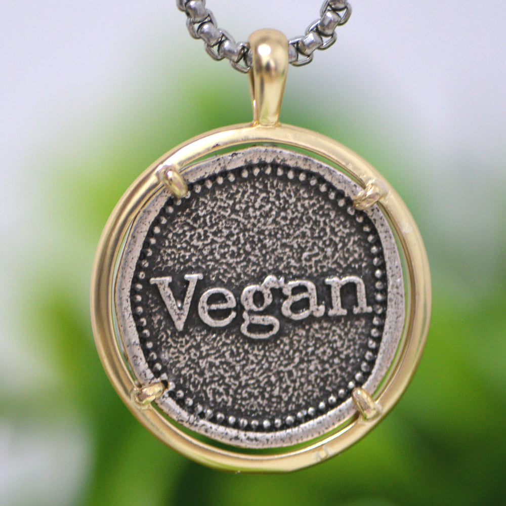 """Stay Vegan"" Necklace for Men"
