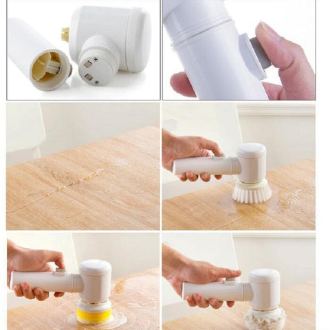 Image of Handheld Electric Cleaning Brush for Bathroom or Kitchen