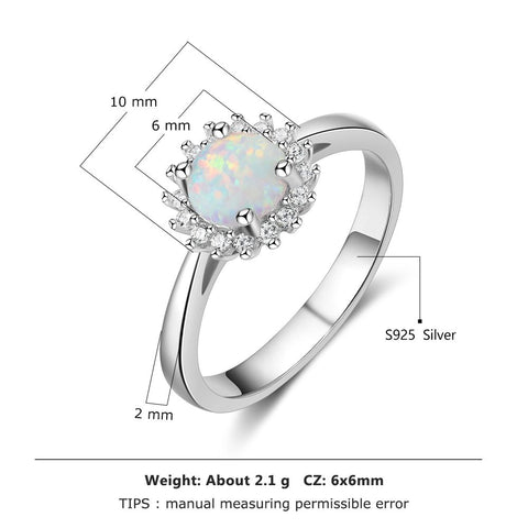 Image of Flower Round White Fire Opal Rings
