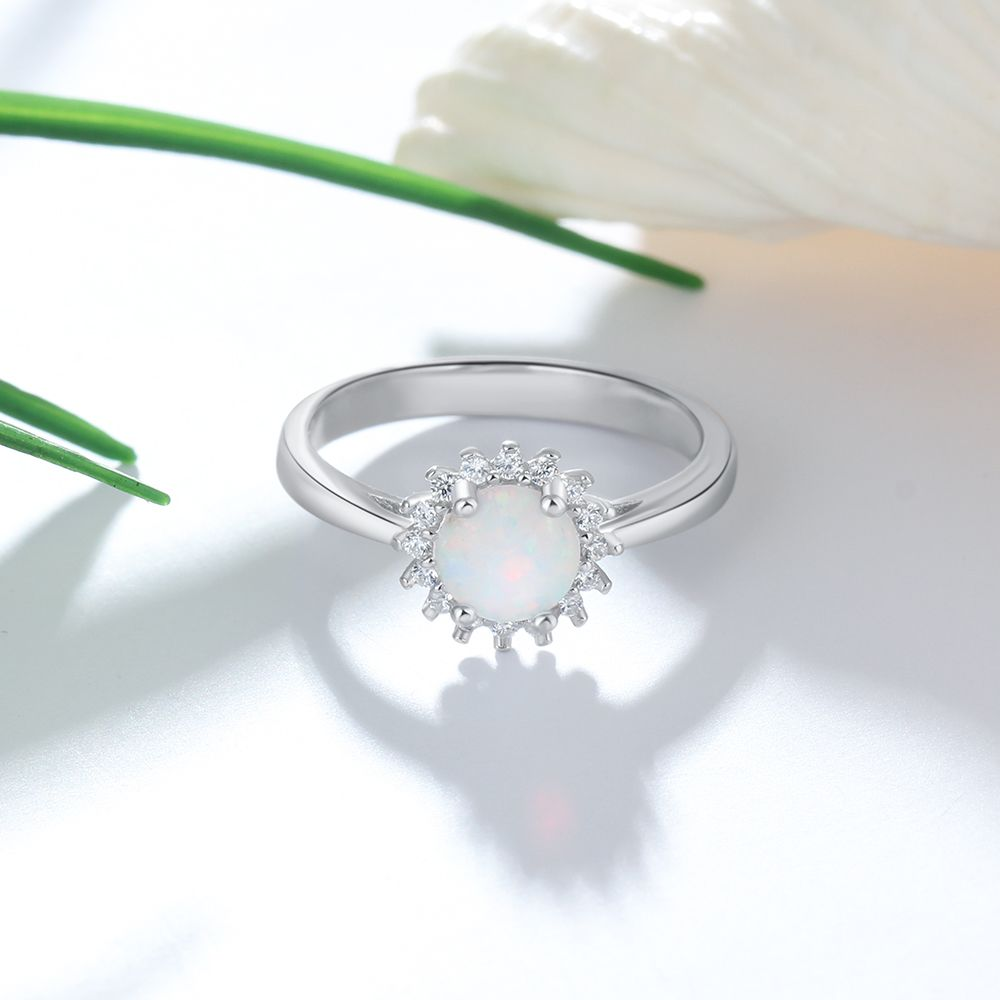 Flower Round White Fire Opal Rings