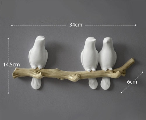 European Style 3D Bird Decor Hook Home Decoration