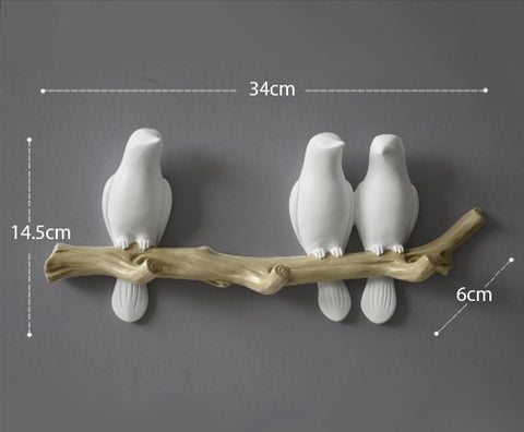Image of European Style 3D Bird Decor Hook Home Decoration