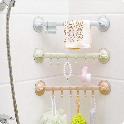 Image of Adjustable Hook Double Suction Cup Towel Rack