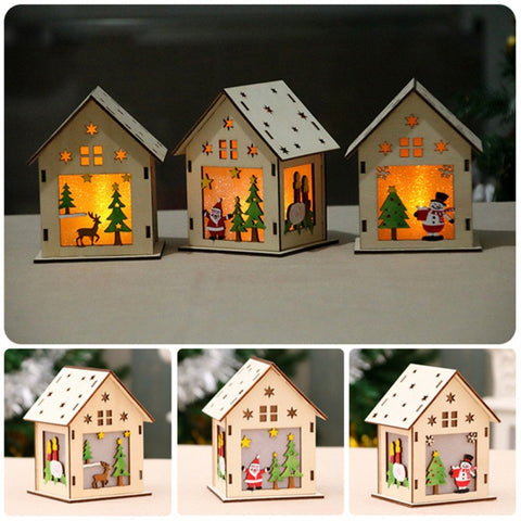 Image of LED Light Wood House Christmas