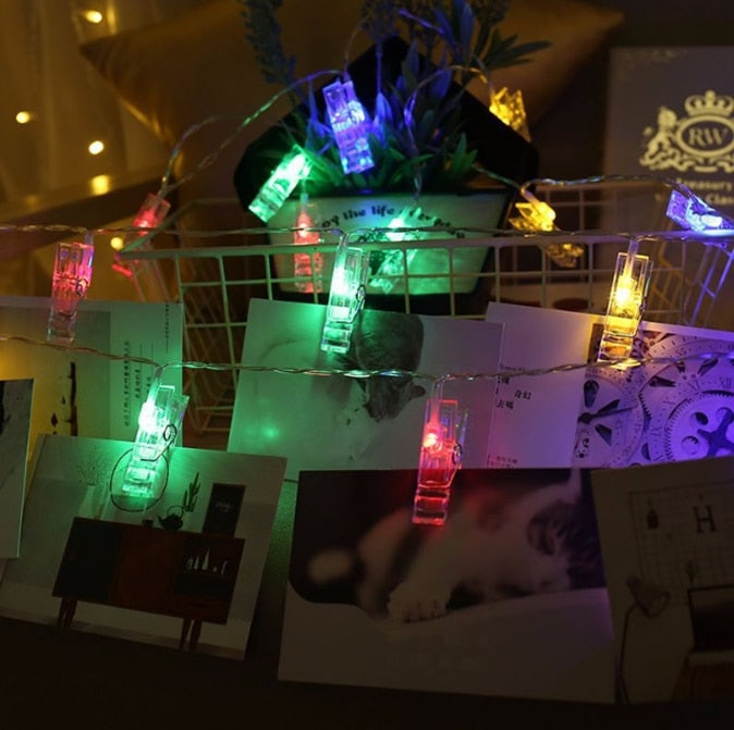 Card Photo Clip String Lights