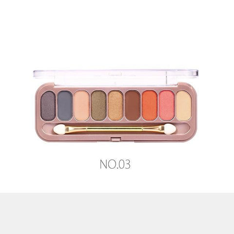 Women 9 Colors Palette Eyeshadow With Brush