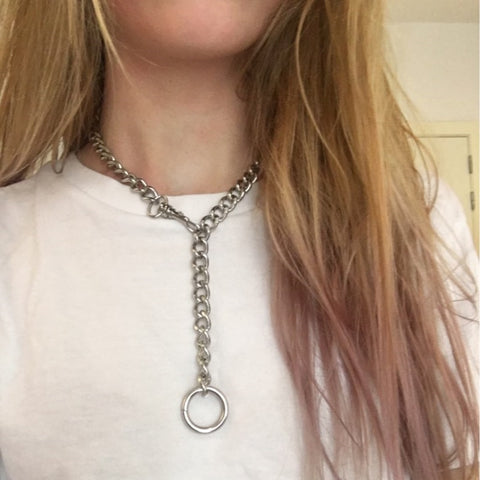 Image of Cool Handmade Silver Chain Choker Necklace