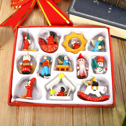 Image of Wooden Pendant Christmas Decorations
