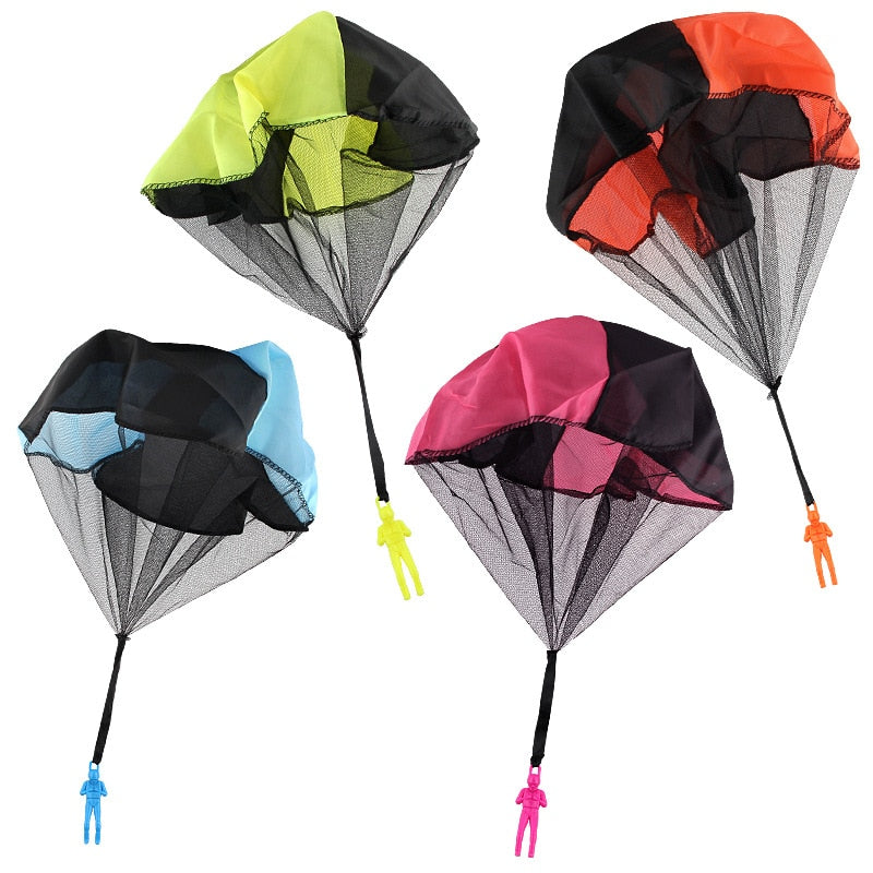 Children Hand Throwing Parachute Men Toy