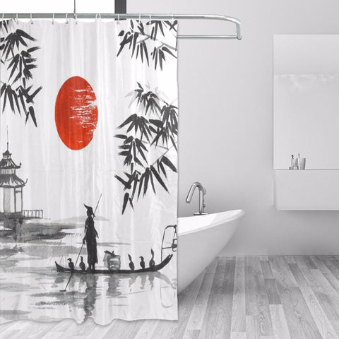 Image of 100% Polyester Fabric Japanese Painting Bath Curtains