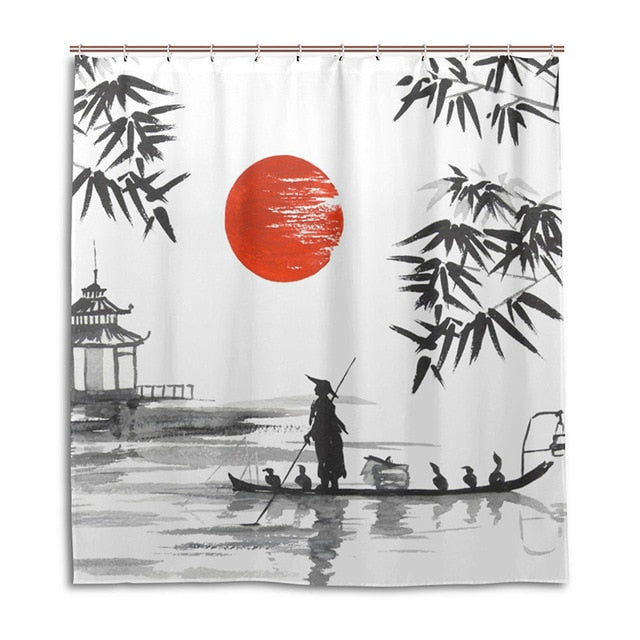 100% Polyester Fabric Japanese Painting Bath Curtains