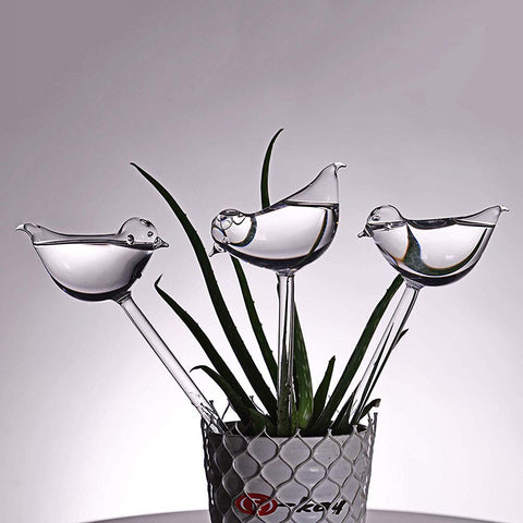 "Image of ""Smarter Life"" Self Watering Glass Birds - 3 Pack"