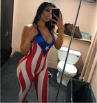 Flag Print Bodycon Jumpsuit