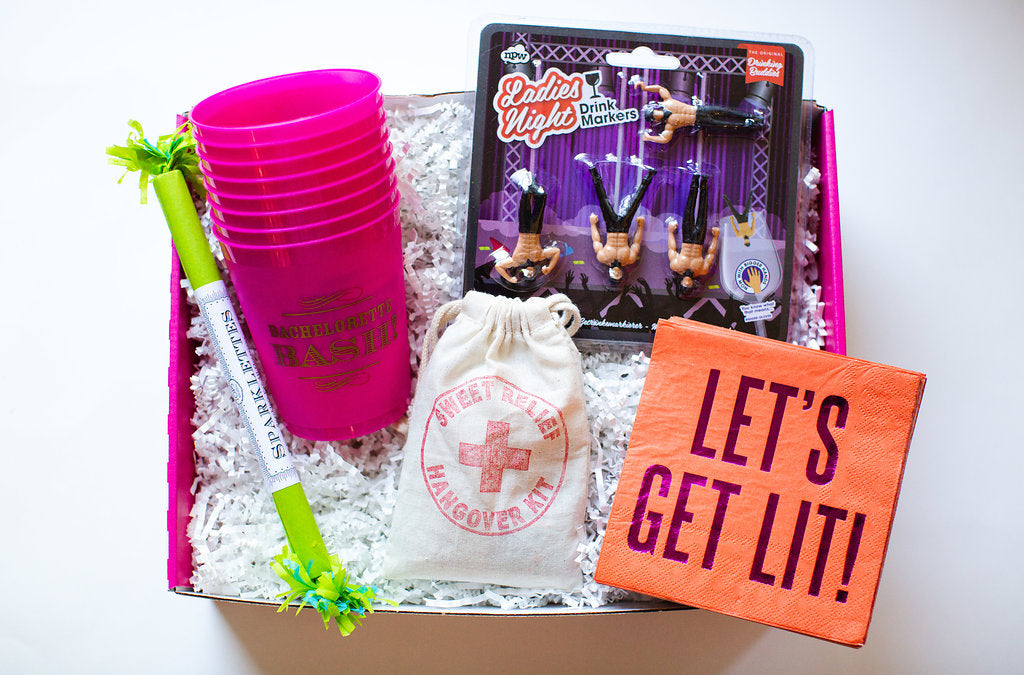 bachelorette bash box with sparklers, cups, napkins, hangover kits and more