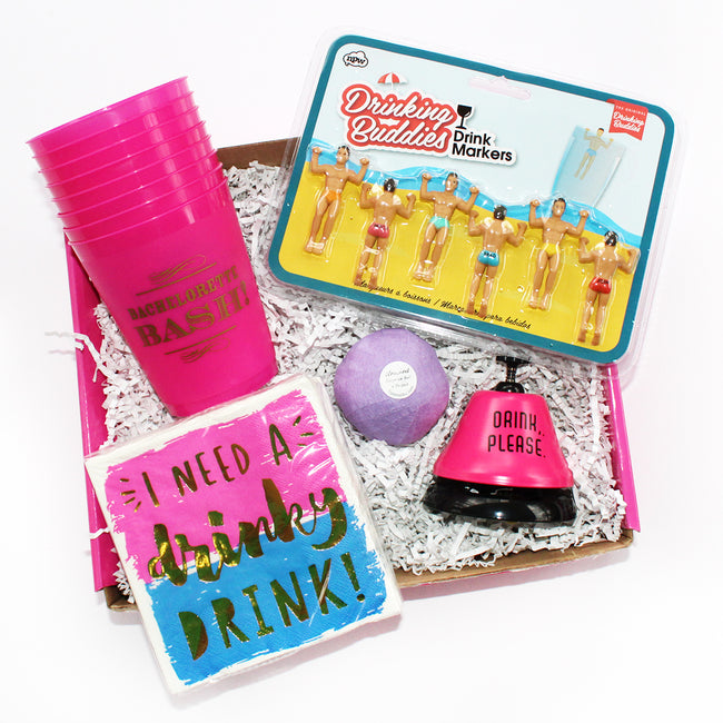 The ultimate bachelorette party box contains bachelorette bash cups, drink bell,napkis, cabana drink markers
