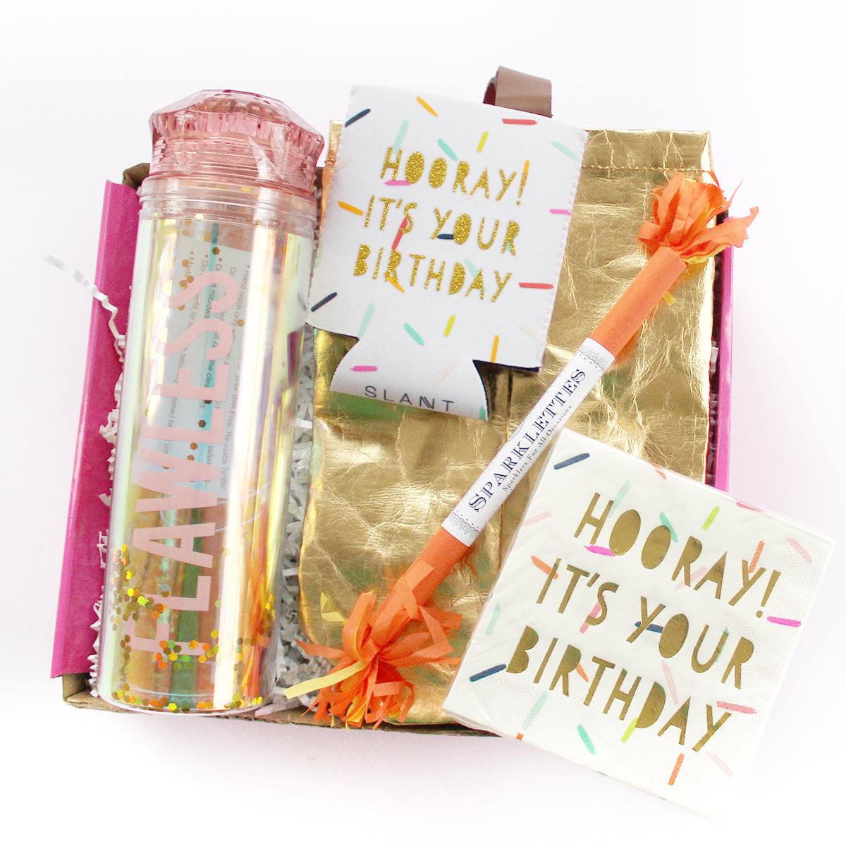 HOORay its you birthday box with flawless water bottle, doozie, can cover, sparkette, napkins and gold wine tote