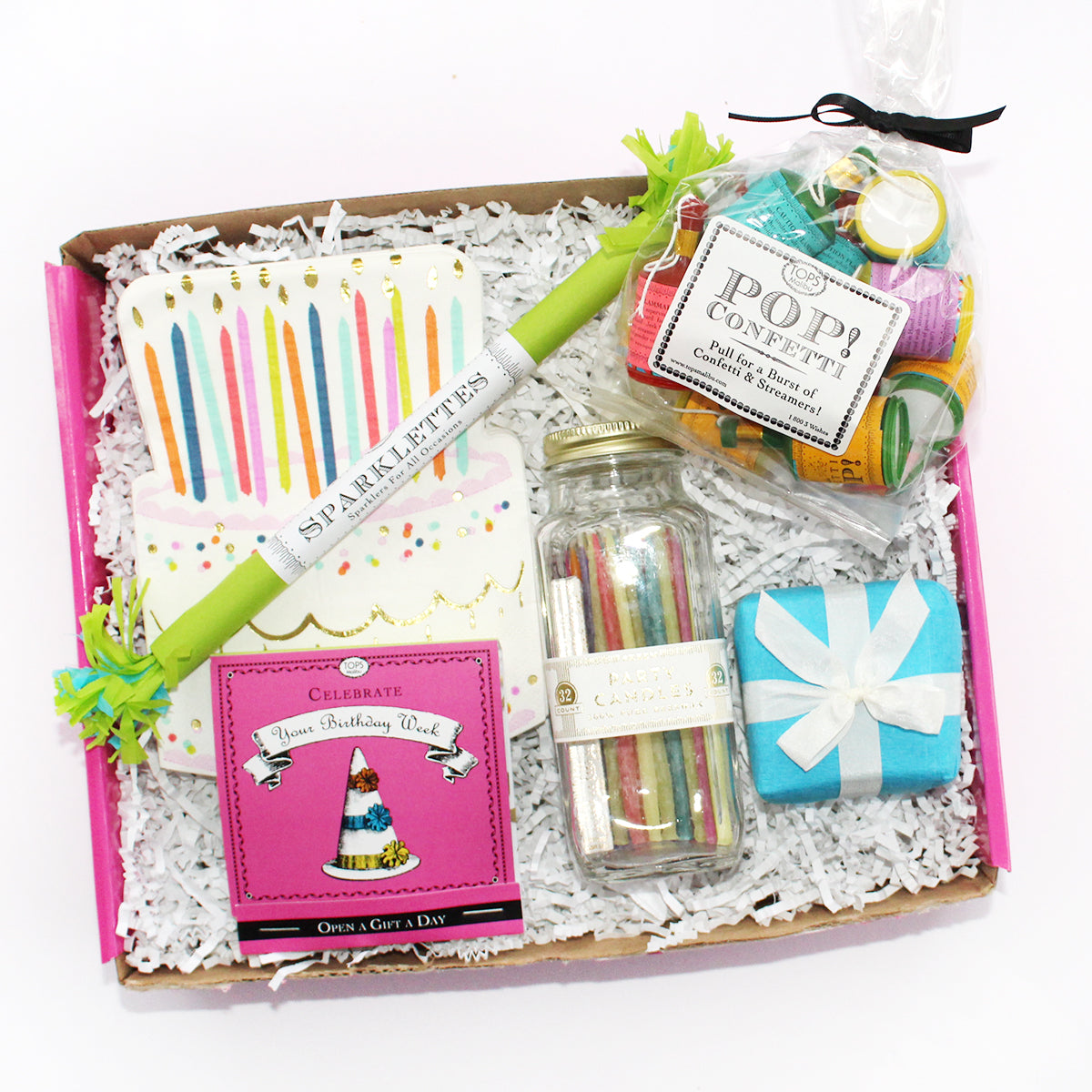 Happy Birthday box for your friend includes cake napkins, candles, sparklettes, surprises, candles, poppers, and lots more