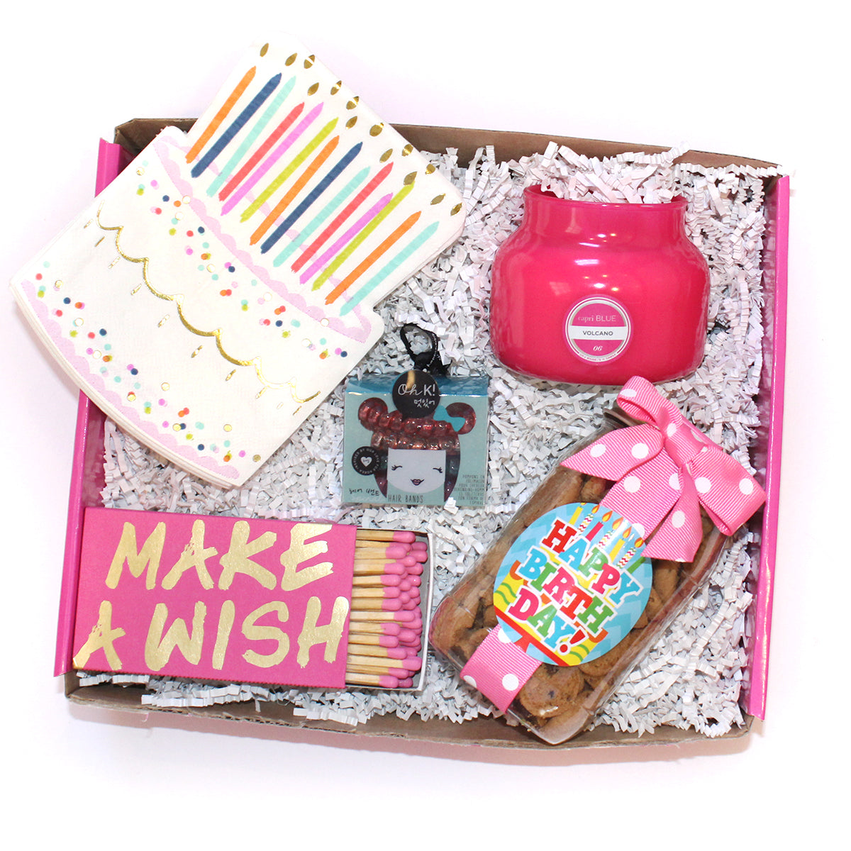 The perfect make a wish birthday box! include candle, napkins, matches, cookies and spiral hair bands
