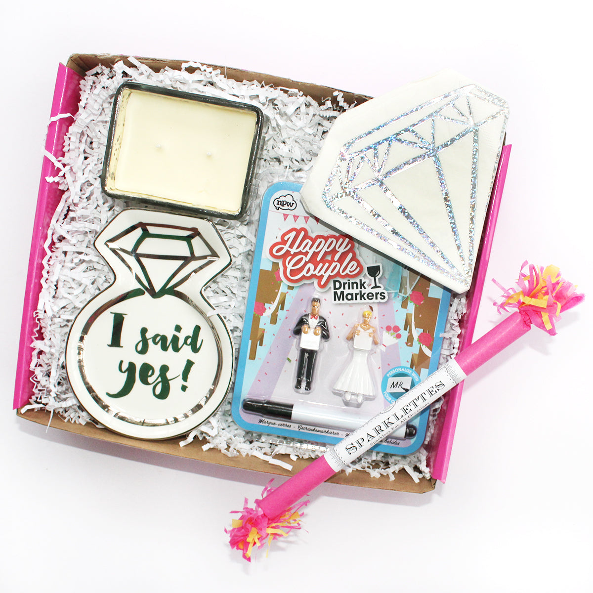 I Said yes gift box full of wedding essentials candles, trinket tray, drink markers, happy couple, diamond napkins