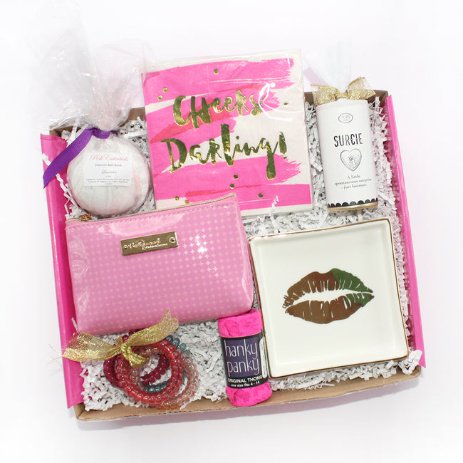 cheers darling! this box is great for all occasions with bath bomb, surcie, napkins, hanky panky, styelette, hair ties, etc