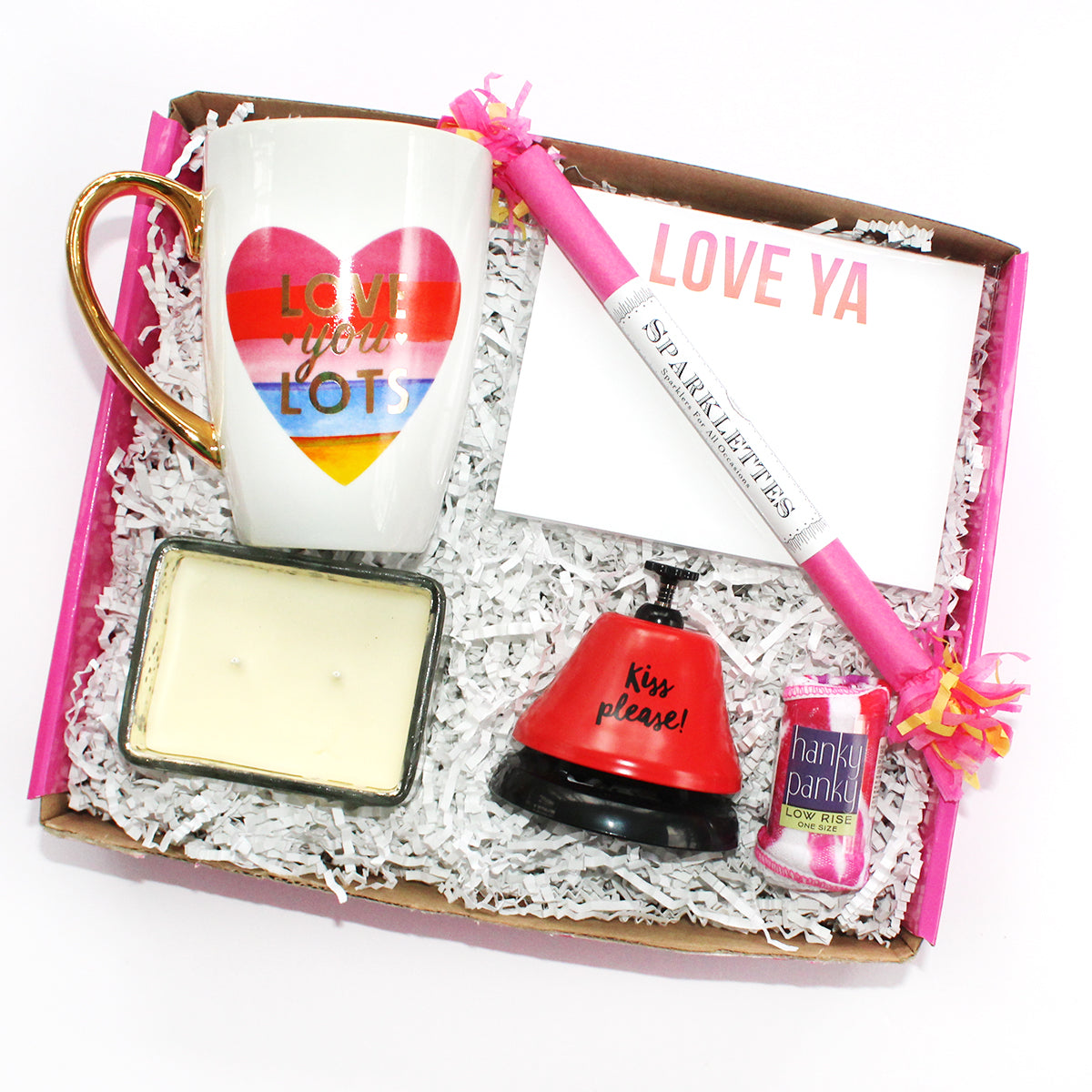 Love ya lots box with volcano candle, kiss me bell, love ya notepad, sparklette, hugs and kisses thong, mug, and love