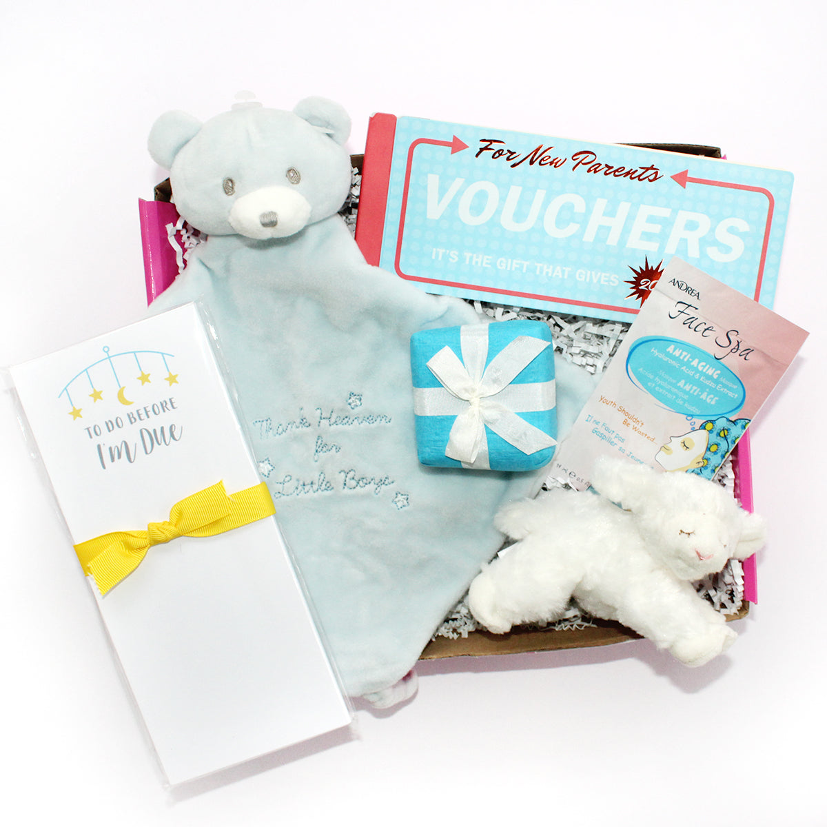 Perfect gift box for the new mommy having a little boy. includes blue lovey that reads thank heaven for little boys, to do before I do notepad, winky lamb rattle, new parent vouchers, surprises and more