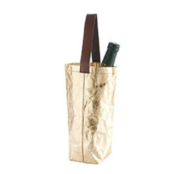 Reusable gold wine tote with faux leather handle