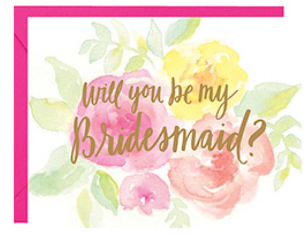 """Will you be my bridesmaid?"" floral card with pink envelope"