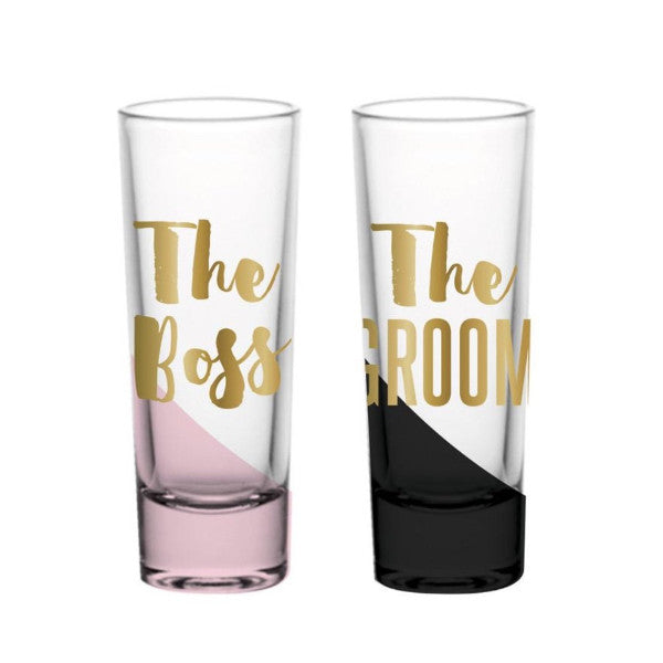 """The Boss"" and ""The Groom"" matching shot glasses with gold foil"