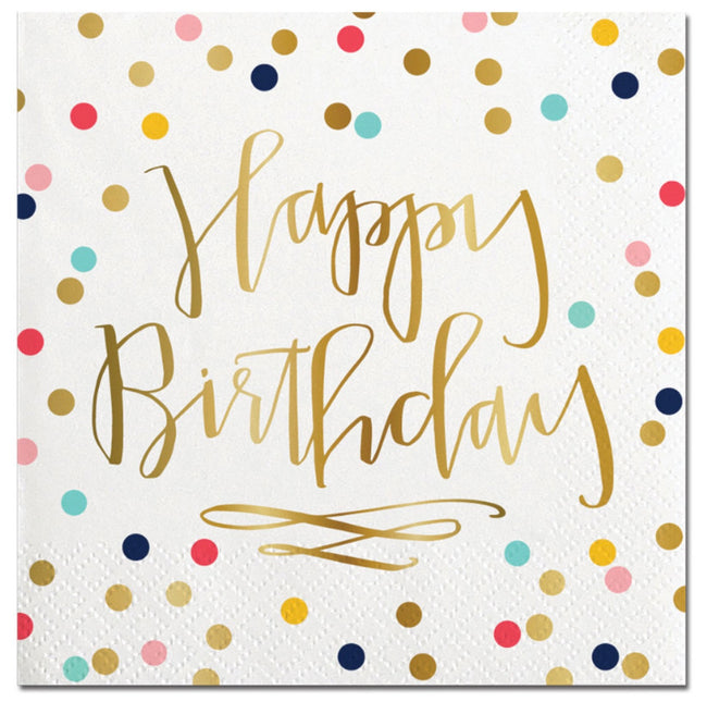 """Happy Birthday"" polka dot cocktail napkins with gold foil"
