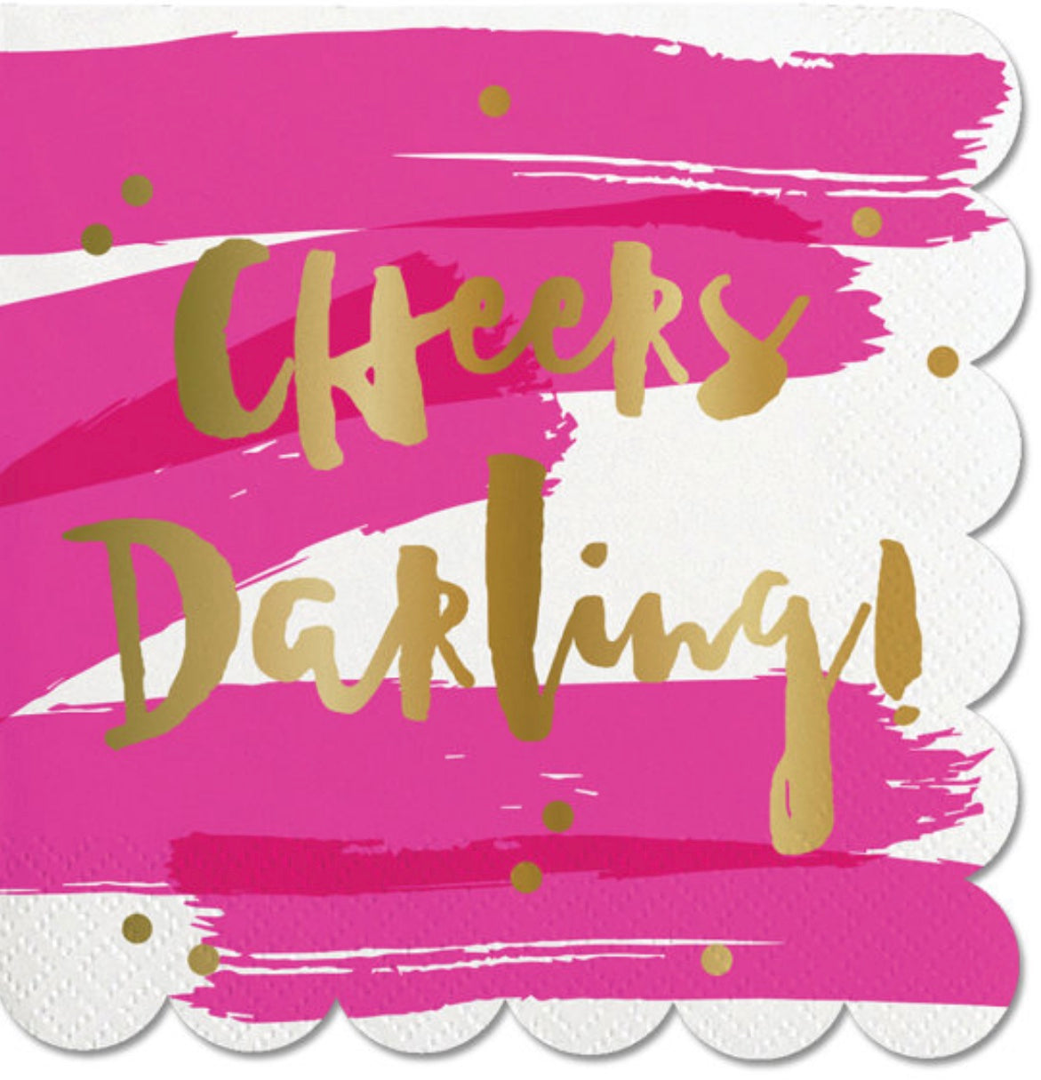 """Cheers Darling!"" pink and gold foil napkins. 20 pack"