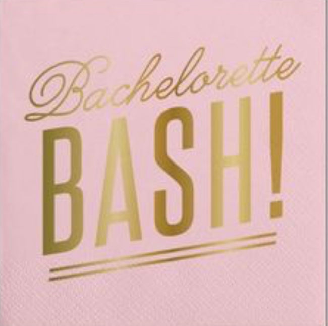 """Bachelorette Bash"" gold foil blush napkins. 20 pack."