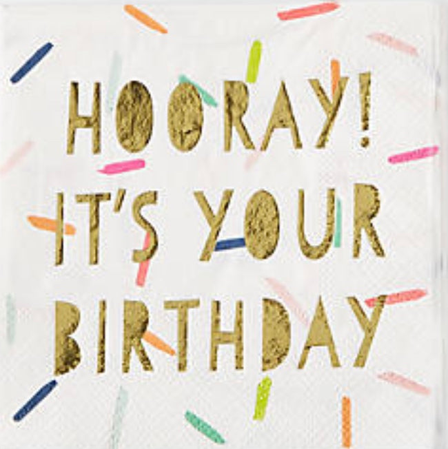"""Hooray its your birthday"" gold goil and sprinkle cocktail napkins"