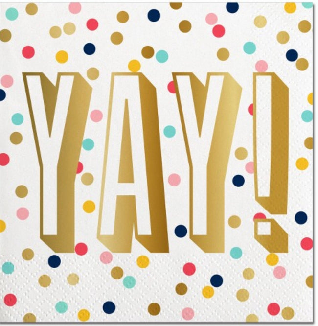"""yay!"" polka dot and gold cocktail napkins"