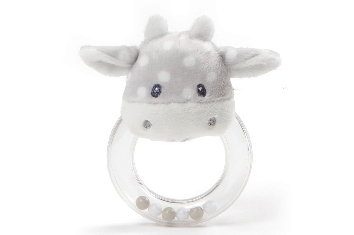 gray cow polka dot rattle