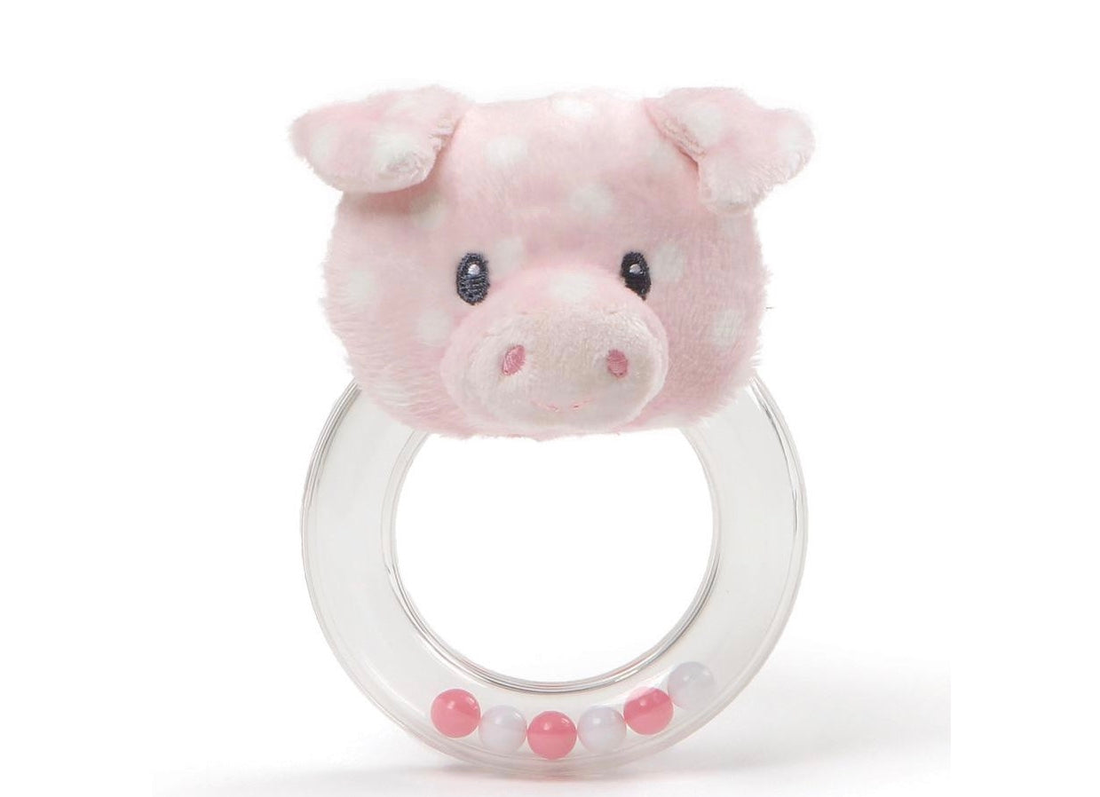 pink polka dot pig rattle