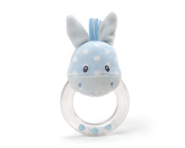 blue horse rattle with polka dots