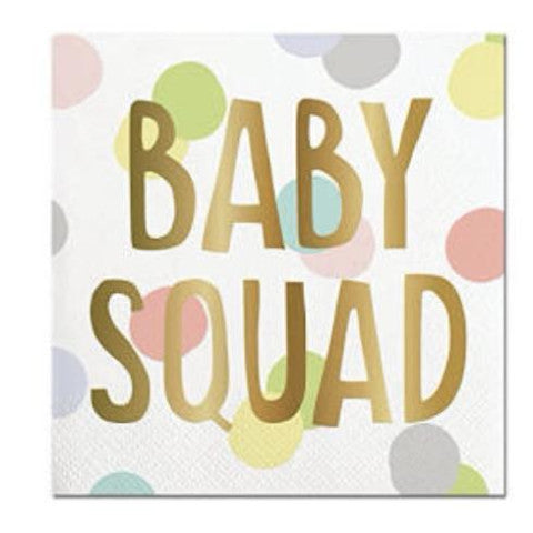 Baby Squad gold foil polka dot cocktail napkins