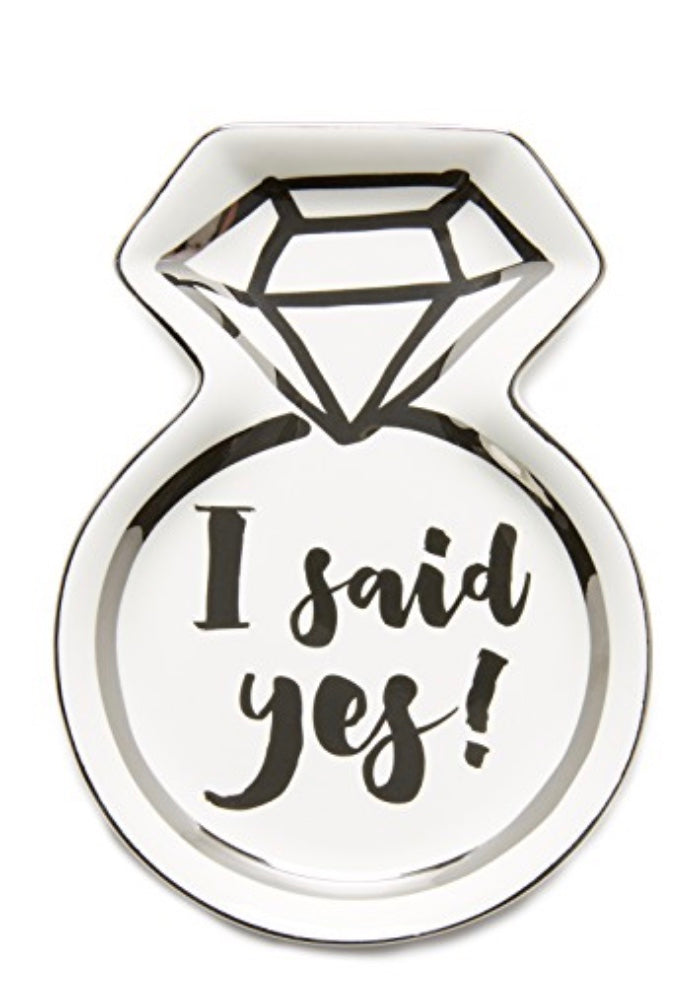 I said yes diamond engagement ring trinket dish