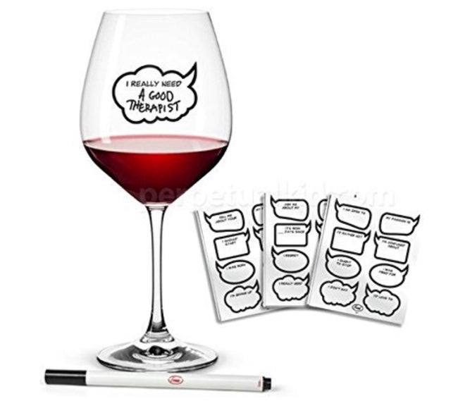 Wine glass markers personalized message