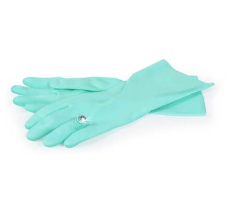 blue dishwashing gloves with diamond ring