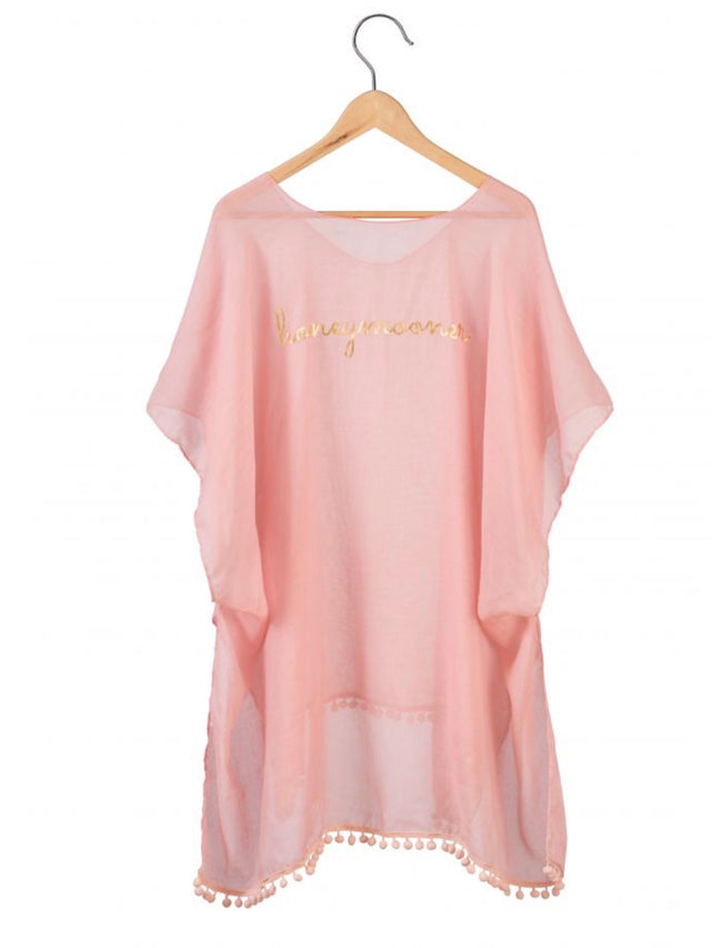pink pom pom coverup with honeymooner