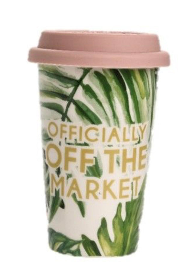 """officially off the market"" travel tumbler mug"
