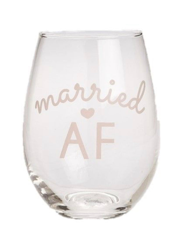 """married AF"" stemless wine glass"