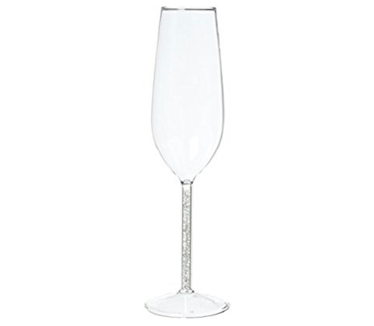 Beautiful gem stemmed champagne flute with Tiny Gems sandwiched between layers of glass to help you celebrate in style!