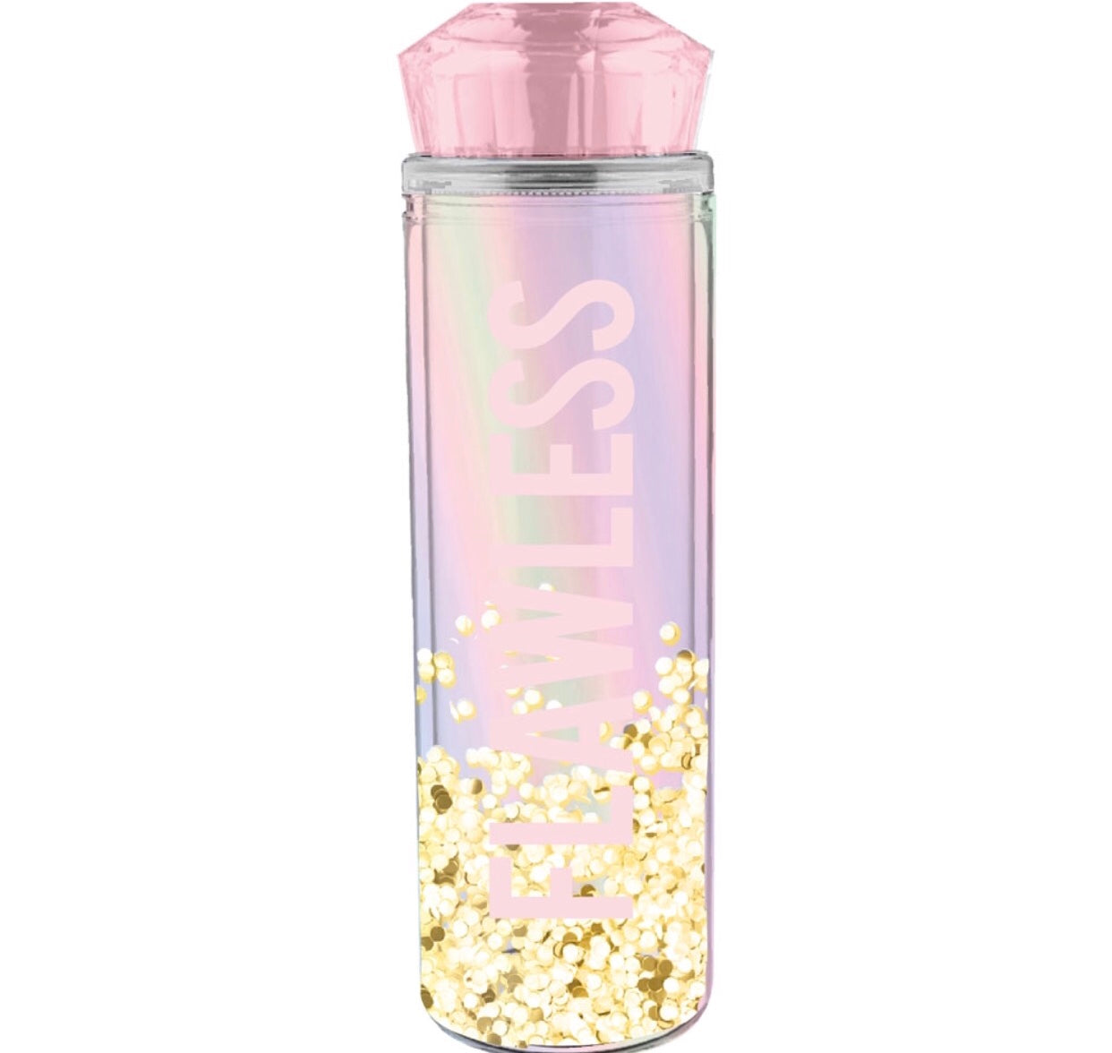 flawless water bottle with pink and gold sequins