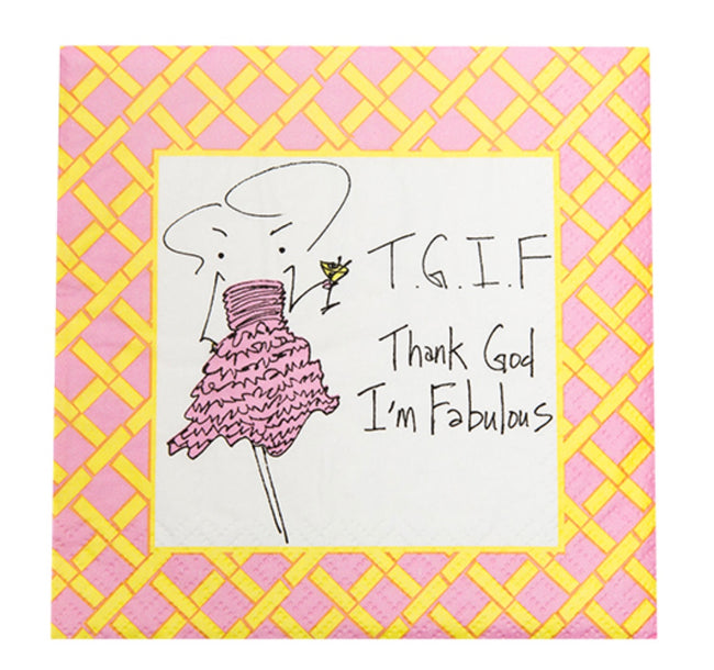 """Thank God I'm Fabulous"" cocktail napkin"