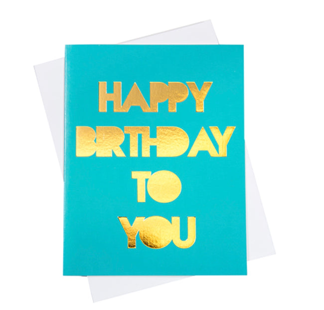 "turquoise and gold ""happy birthday to you"" greeting card"