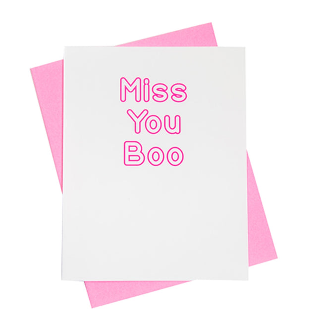 """miss you boo"" greeting card"